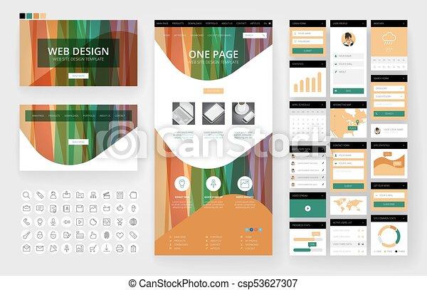 site web, interface, éléments, conception, gabarit - csp53627307