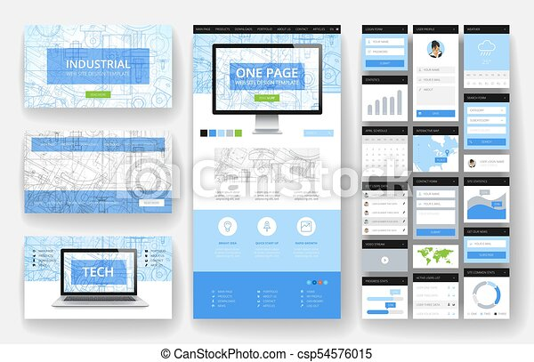 site web, interface, éléments, conception, gabarit - csp54576015