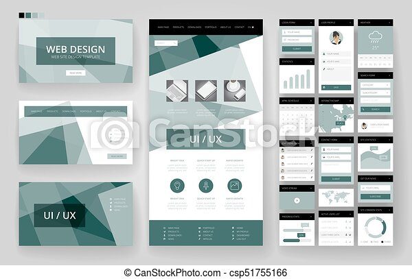 site web, interface, éléments, conception, gabarit - csp51755166