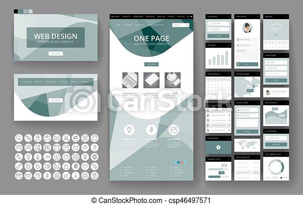 site web, interface, éléments, conception, gabarit - csp46497571