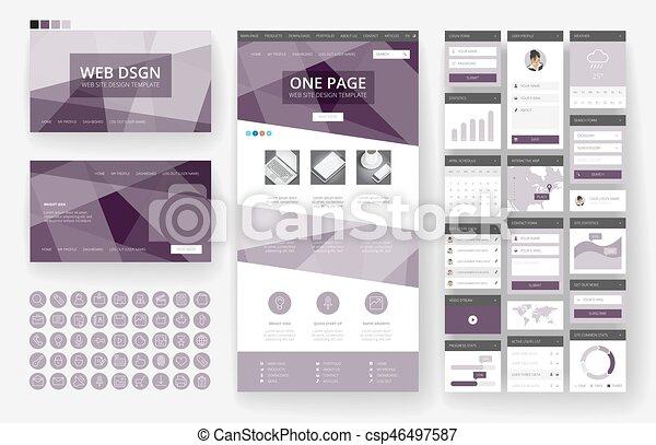 site web, interface, éléments, conception, gabarit - csp46497587