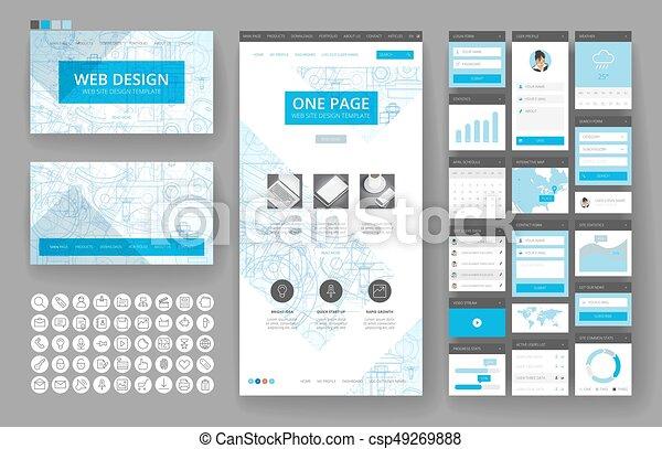 site web, interface, éléments, conception, gabarit - csp49269888