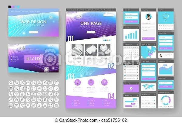 site web, interface, éléments, conception, gabarit - csp51755182