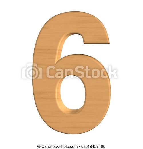 six, nombre, isolé, bois, fond, nouveau, blanc - csp19457498