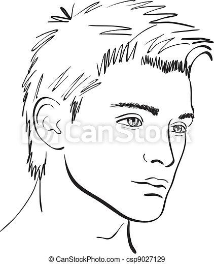sketch., figure, vecteur, concevoir élément, homme - csp9027129