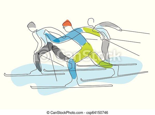 skieurs, nordique, stylized., lineart, course - csp64150746