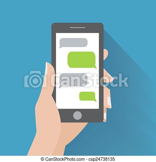 smartphone, main, parole, tenue, vide, bulles - csp24738135