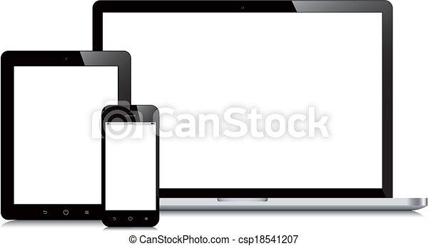 smartphone, tablette, mockup, ordinateur portable, fond, blanc - csp18541207