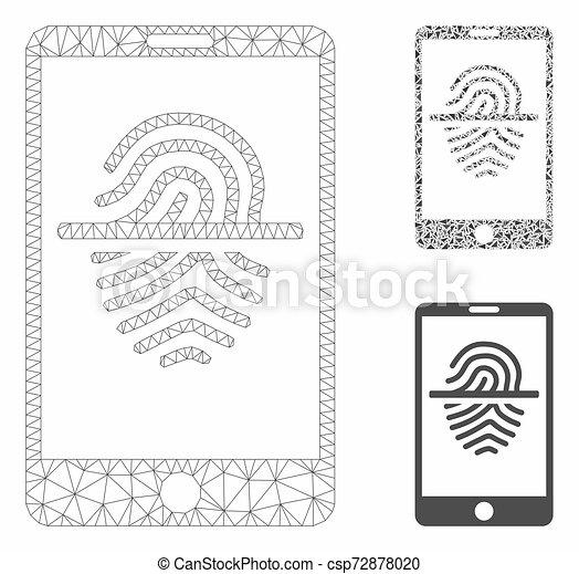 smartphone, triangle, réseau, maille, vecteur, prend empreintes digitales dispositif balayage, modèle, mosaïque, icône - csp72878020