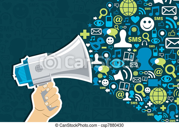 social, média, commercialisation - csp7880430