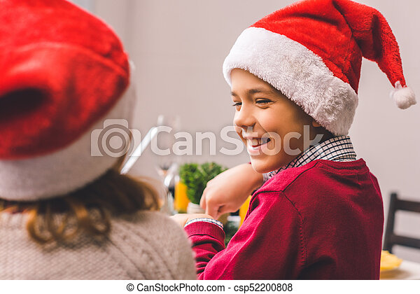 soeur, chapeaux, santa, frère - csp52200808