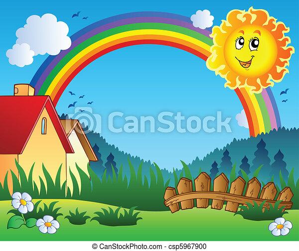 soleil, paysage, arc-en-ciel - csp5967900