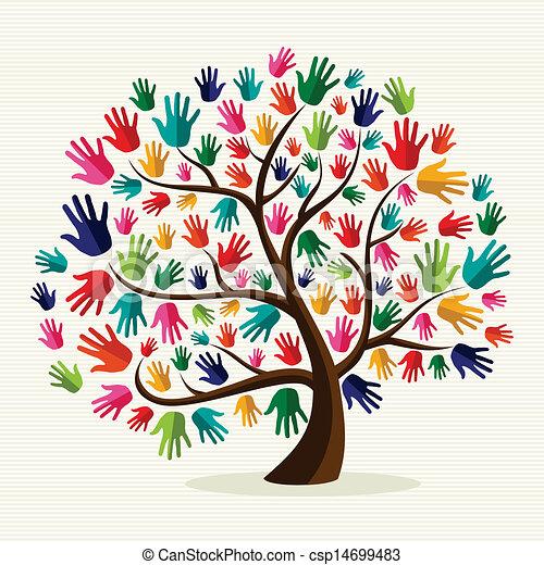 solidarité, main, coloré, arbre - csp14699483