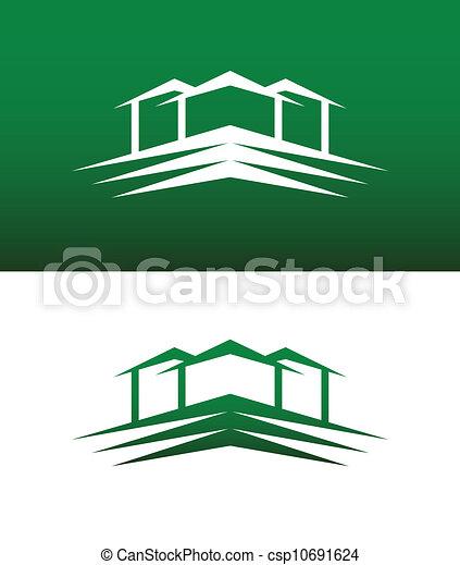 solide, maison, résumé, vecteur, renversé, icône - csp10691624