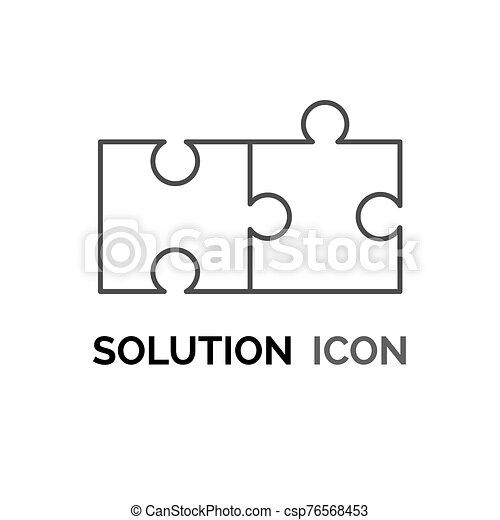 solution, réunir, icône, puzzle, concept, résolvant problème, simple, conception - csp76568453