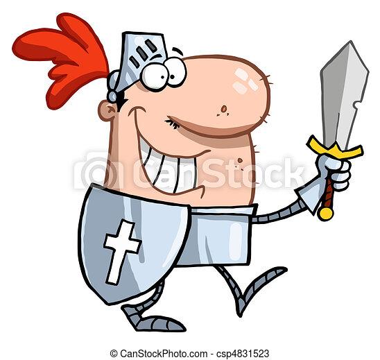 sourire, chevalier, épée - csp4831523