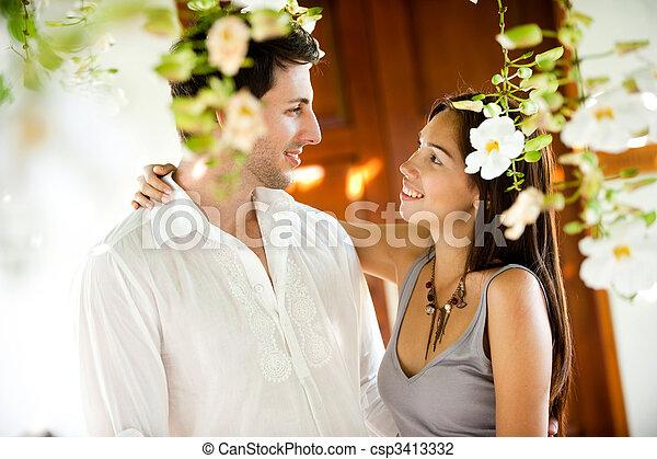 sourire, couple - csp3413332