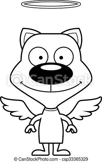 sourire, dessin animé, ange, chaton - csp33365329