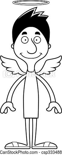 sourire, dessin animé, ange, homme - csp33348846