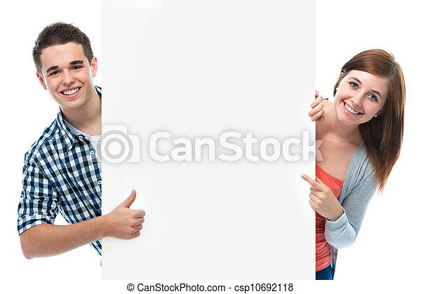 sourire, planche, ados, tenue, vide - csp10692118