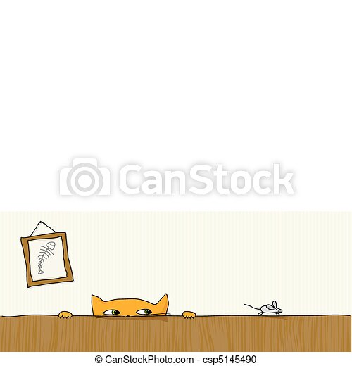 souris, chasse, chat - csp5145490