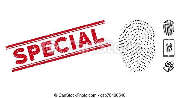 spécial, doigt, ligne, mosaïque, timbre, impression, textured, icône - csp78406546