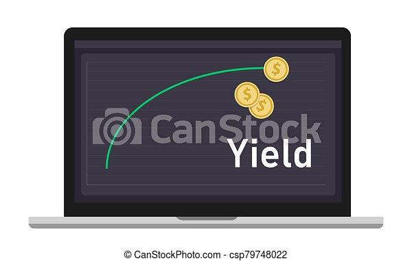 spectacles, courbe, période, revenus, monnaie, rendement, ordinateur portable, sur, investissement, time., particulier, engendré, graphique, argent - csp79748022