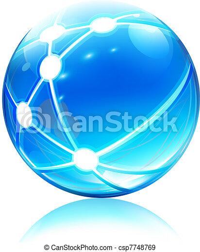 sphère, réseau, icône - csp7748769