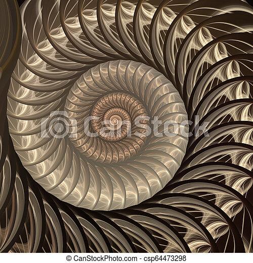 spiral., résumé, coquille, fractal, fond - csp64473298