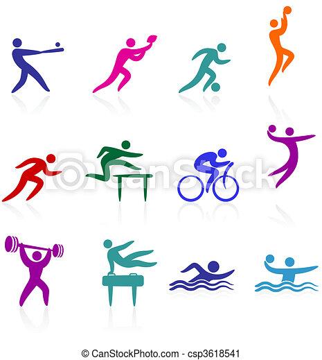 sports, collection, icône - csp3618541