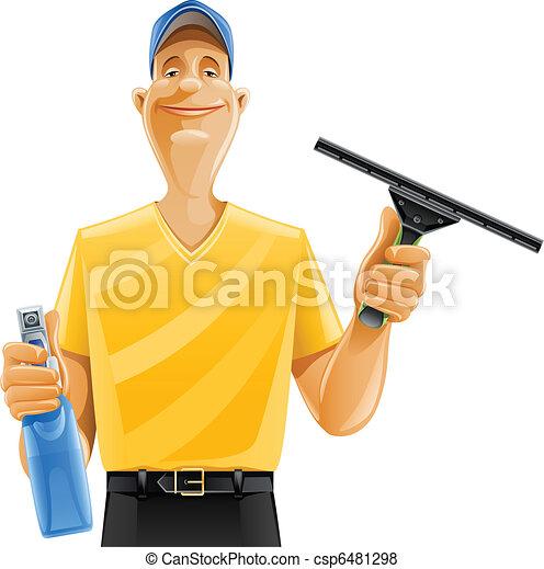 squeegee, nettoyage fenêtre, pulvérisation, homme - csp6481298