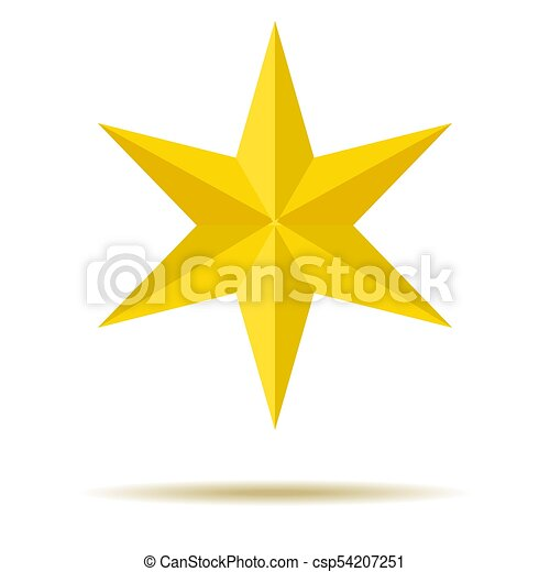 star., yellow., six-pointed., ornaments., ton, design. - csp54207251