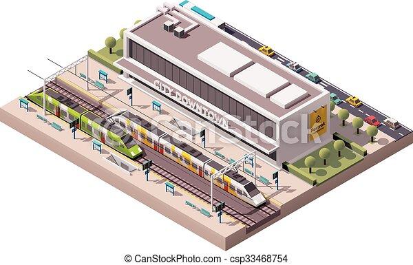 station, vecteur, isométrique, train - csp33468754