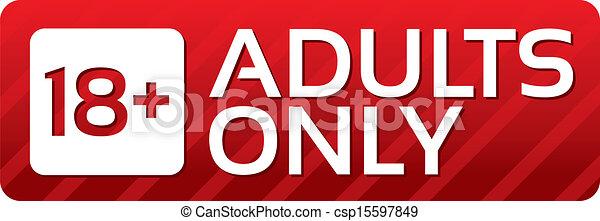 sticker., adultes, button., contenu, seulement, vecteur, rouges - csp15597849