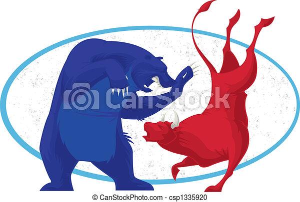 stockage, -, marché, ours, taureau - csp1335920