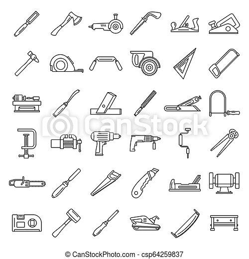 style, contour, fonctionnement, ensemble, charpentier, icône - csp64259837