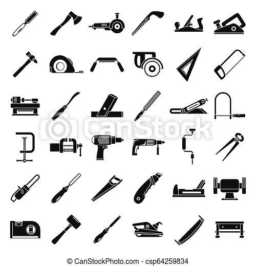 style, ensemble, charpentier, simple, construction, icône - csp64259834