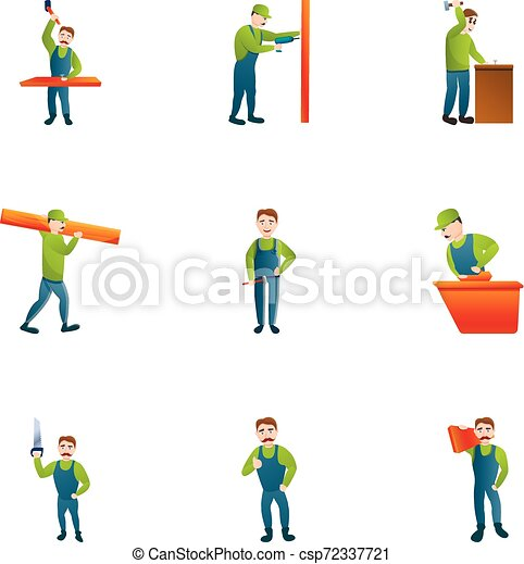style, ensemble, moderne, charpentier, dessin animé, icône - csp72337721