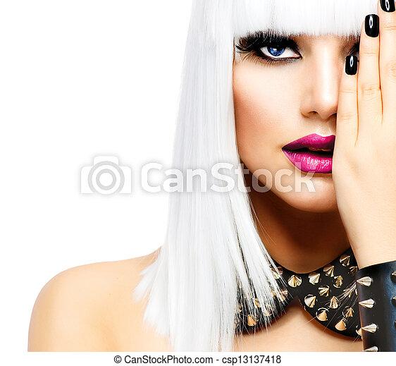 style, femme, mode, beauté, girl., isolé, punk, blanc - csp13137418