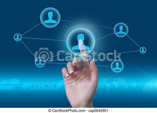 style, réseau, concept., interface., virtuel, toucher, avenir, social, homme, icône - csp5642601