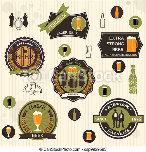 style, retro, conception, bière, étiquettes, insignes - csp9929595