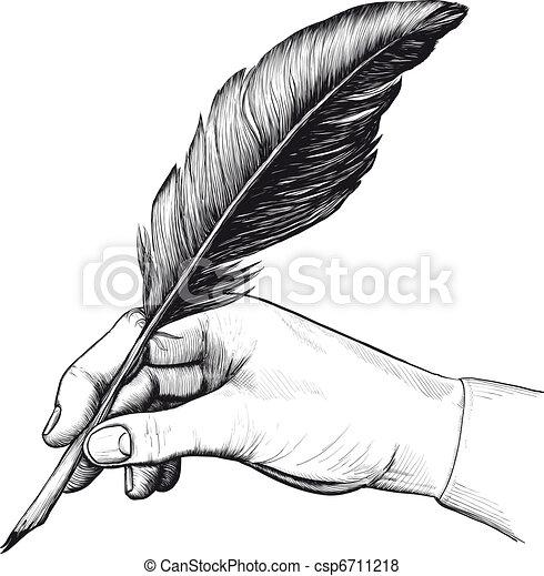 stylo, dessin, plume, main - csp6711218