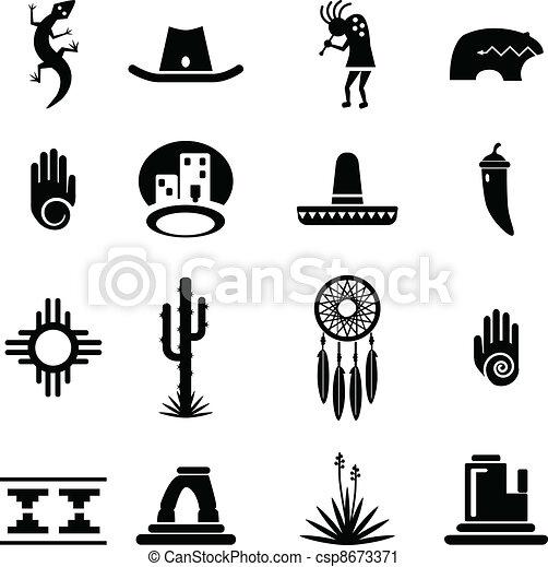 sud-ouest, ensemble, icônes - csp8673371
