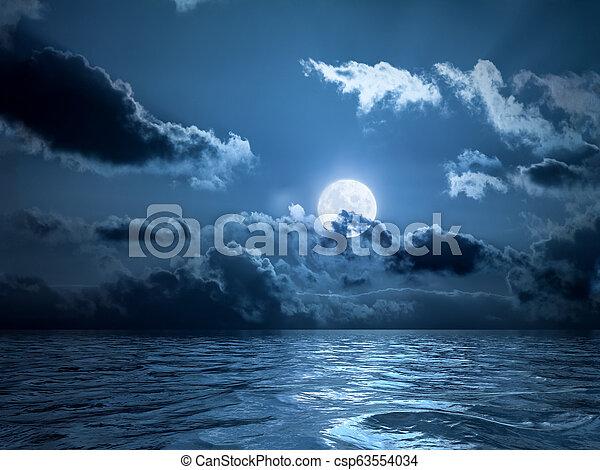 sur, pleine lune, océan - csp63554034