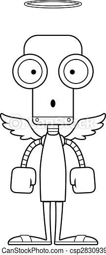 surpris, dessin animé, ange, robot - csp28309394
