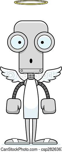surpris, dessin animé, ange, robot - csp28263674