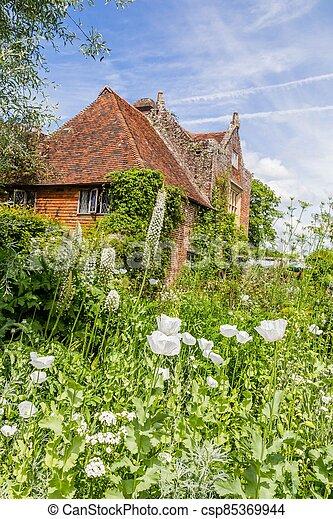 sussex, château, printemps, pendant, britannique, angleterre, coloré, jardin - csp85369944