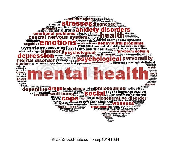 symbole, blanc, santé, mental, isolé - csp10141634