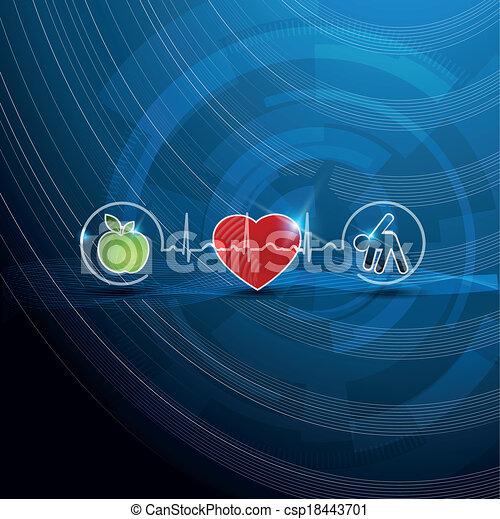 symboles, concept, cardiologie, sain, clair, vivant - csp18443701