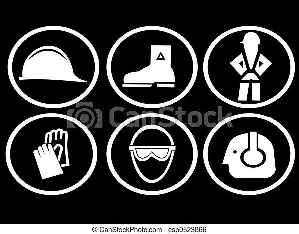symboles, construction, sécurité, site - csp0523866